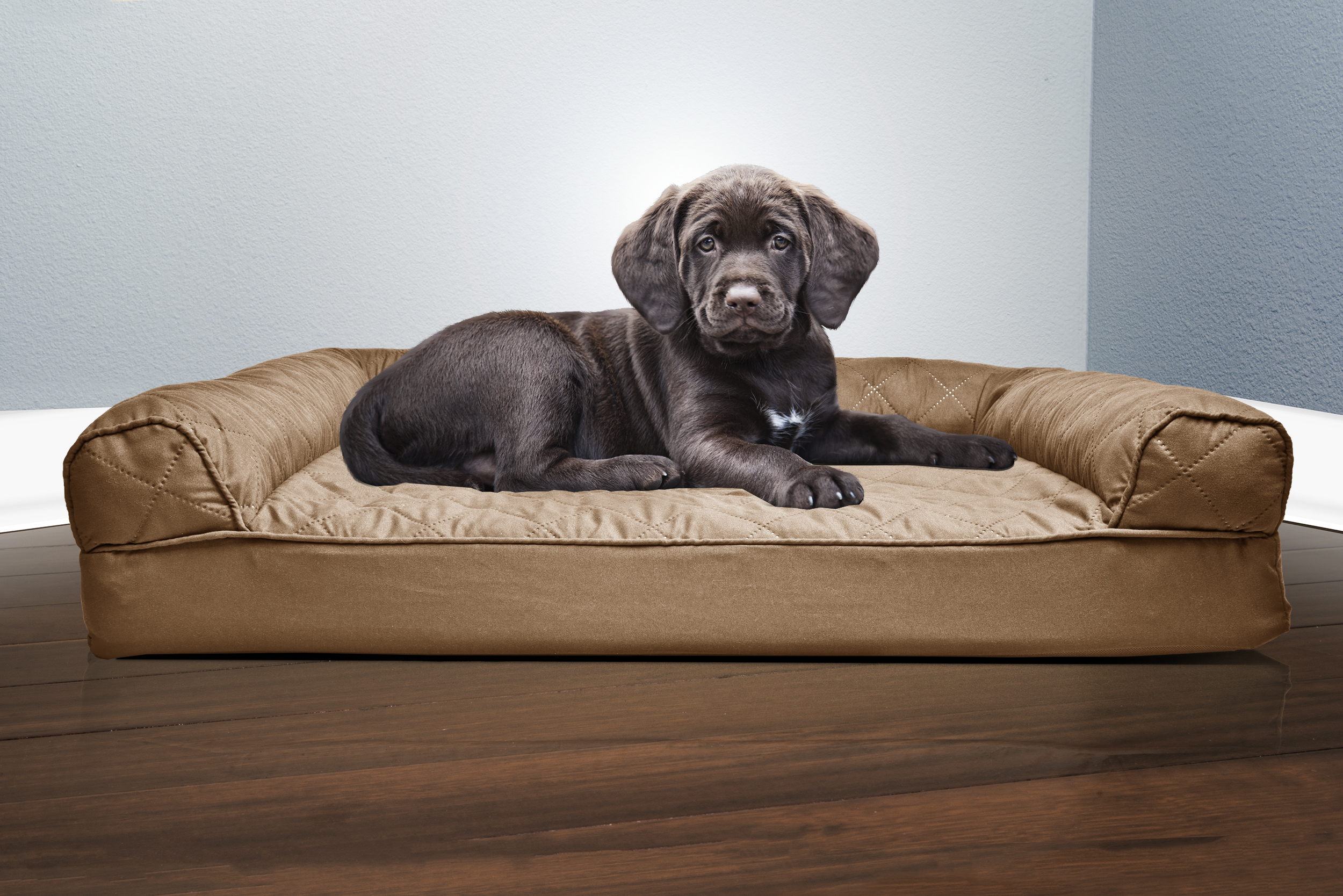 new furhaven quilted sofa dog bed pet bed warm brown. Black Bedroom Furniture Sets. Home Design Ideas