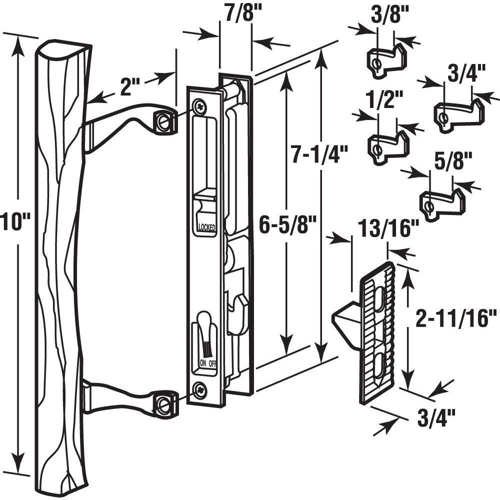 sliding glass door keyed internal hook latch lock mechanism w wood