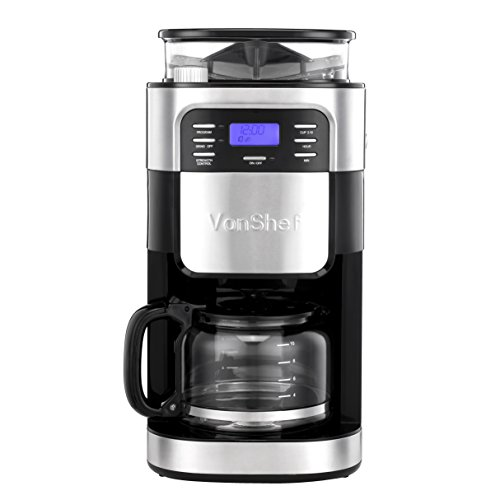 Vonshef Filter Coffee Maker : NEW VonShef 10 Cup Coffee Maker with Built-In Grinder and Reusable Filter eBay