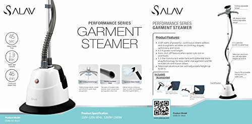 New salav performance series garment steamer black gs06 for Salav garment steamer