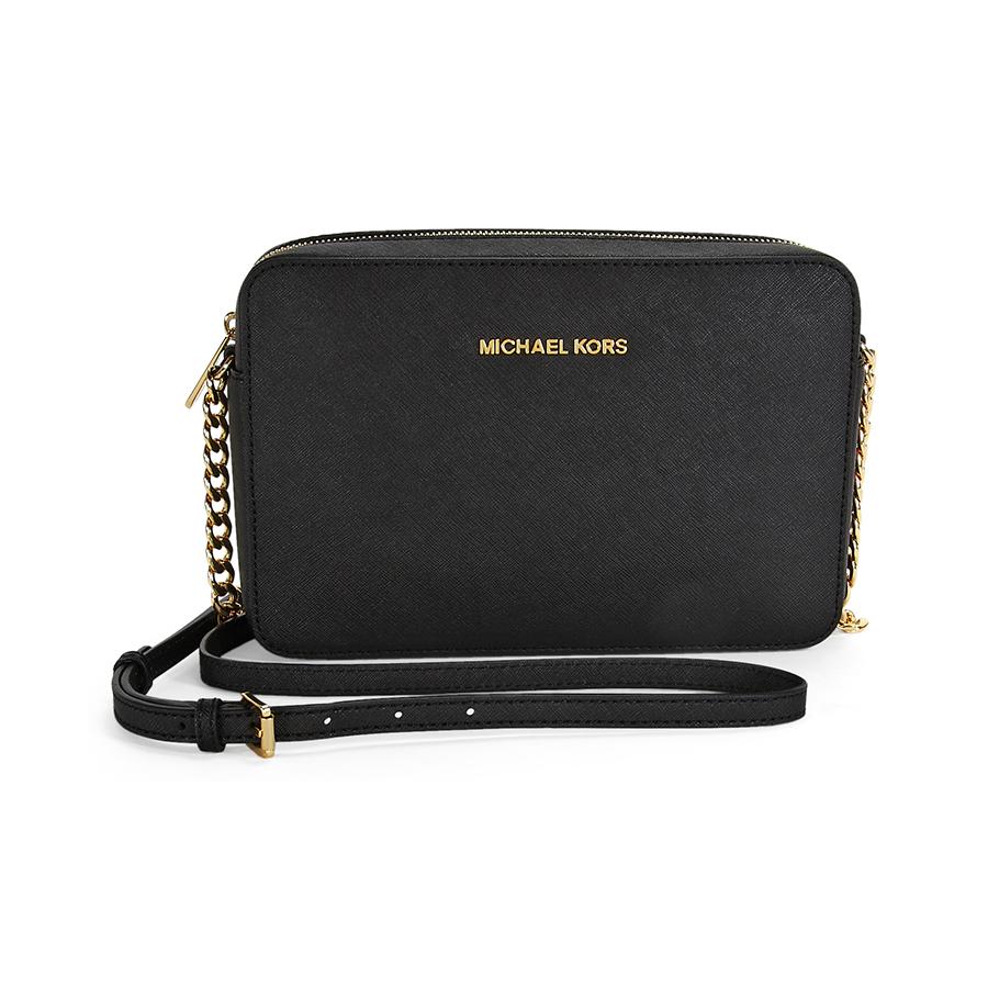 1080cd607645 ... Michael Kors Women's Leather Crossbody Handbag - Black - Size: Large