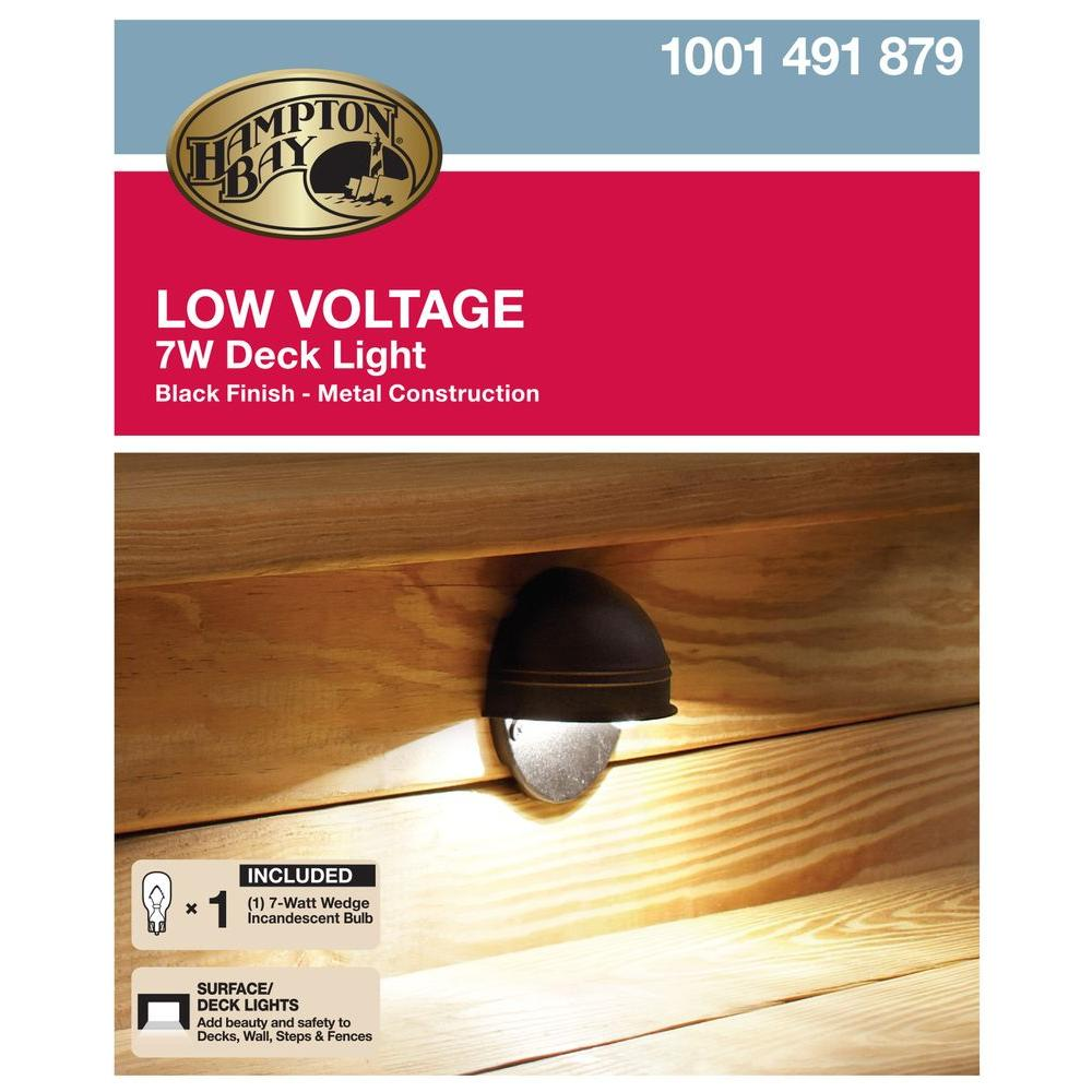 NEW Hampton Bay Low Voltage 7 W Halogen Black Round Deck
