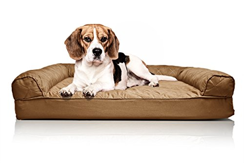 New Furhaven Quilted Sofa Dog Bed Pet Bed Warm Brown
