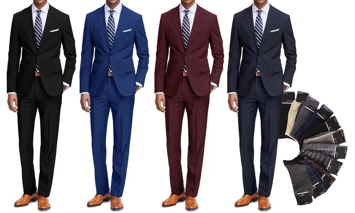94ae940e4d6 ... Braveman Men s Classic Fit Suit - 2 Piece - Black - Size  42rx36w ...
