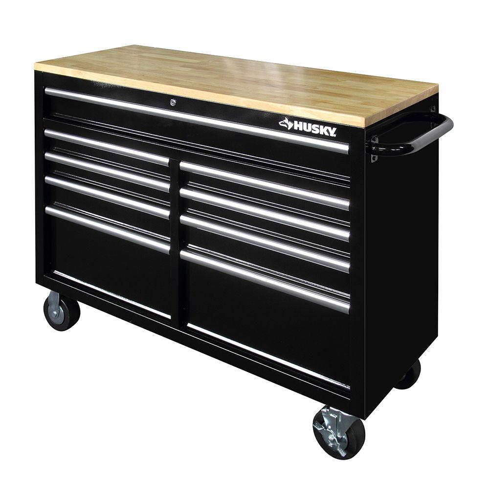 New Husky 46 Quot 9 Drawer Mobile Workbench With Solid Wood