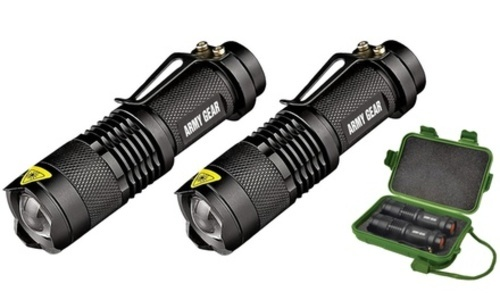 Army Gear 500-Lumen Tactical Military Flashlight 2 Pack with Carrying Case