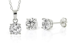Sterling Silver Cubic-Zirconia Solitaire Necklace-and-Earrings Set