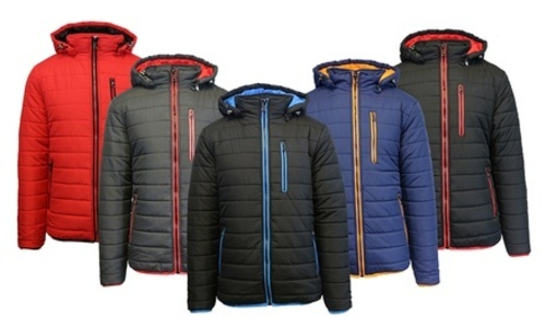 98cc5d59339 Details about NEW Spire By Galaxy Men's Heavyweight Puffer Jacket -  Black/Lime - Size:S