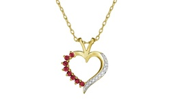 Bronze 18k Gold Two Tone Heart Pendant w