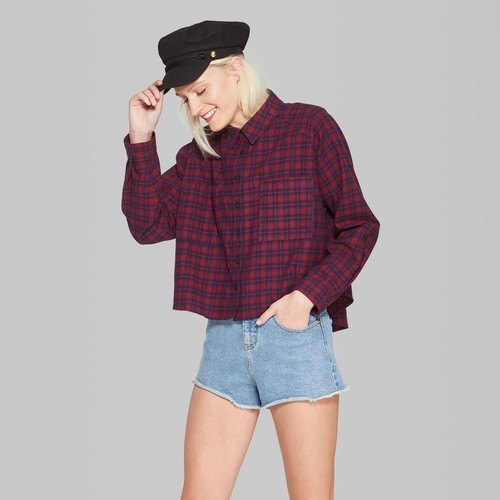 5447234f NEW Wild Fable Women's Cropped Button-Down Shirt - Red - Size:L ...
