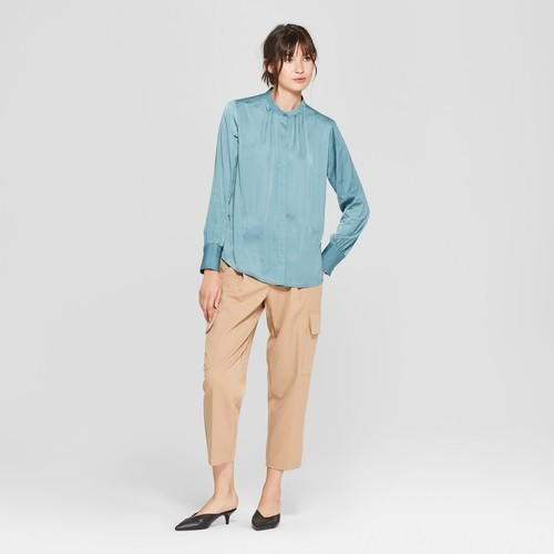 c2801e071 NEW Prologue Women's Long Sleeve Button-Up Blouse - Blue - Size:L ...