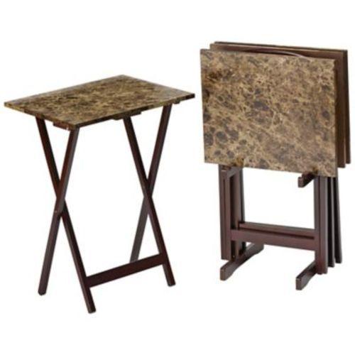 New Alcove Marble Look Tv Tray Set 5 Piece Espresso Ebay