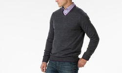 Men's Report Collection Long Sleeve V-Neck Sweater - Gray - Size: L