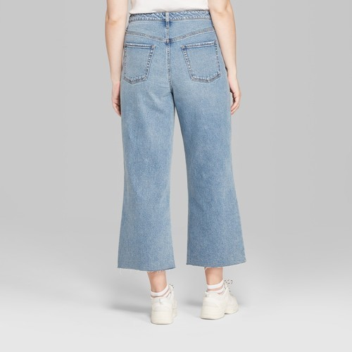 84761bc229 NEW Wild Fable Women s High-Rise Wide Leg Cropped Jeans - Light Wash ...