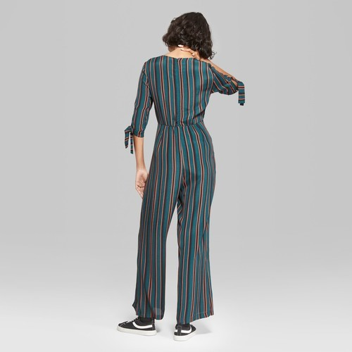 a072135935cc Wild Fable Women s Striped Jumpsuit with Sleeve Ties - Black - Size XS