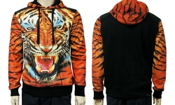 Leonine Sublimation Tiger Hoody Sweatshirt - Orange - XL