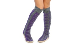 "Gypsy Women's 26"" Piano Pattern Sweater Boots - Gray/Purple - Size: 6"
