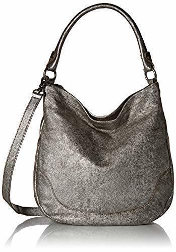 d5484789c709 ... Frye Women's Melissa Metallic Top Zip Closure Leather Hobo Bag - Silver  ...