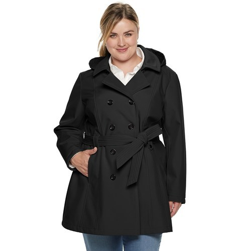 53e5ab4fd6ea2 Women s Plus Size Double-Breasted Hooded Soft Shell Jacket - Black - Sz 3X