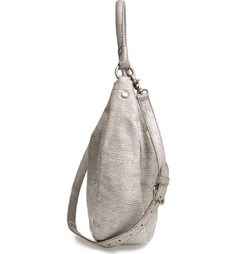 941559a02103 ... Frye Women's Melissa Metallic Top Zip Closure Leather Hobo Bag - Silver
