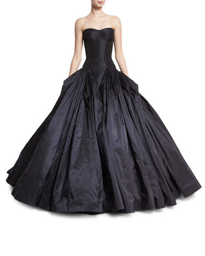 b197fc77536 Zac Posen Strapless Drop-Waist Faille Ball Gown - Faille Navy - Size  6