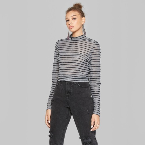 9ee3902105 Wild Fable Women's Striped Crop Mock Neck Top - Heather Gray - Size:L.  Click to Enlarge