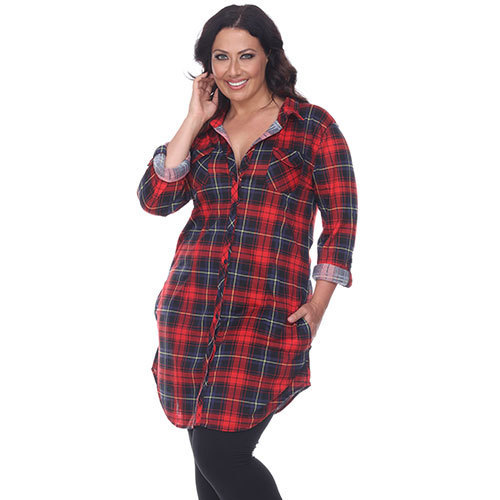 a91faaafb White Mark Women's Plus Size Plaid Flannel Tunic Top - Red/Black - Size: