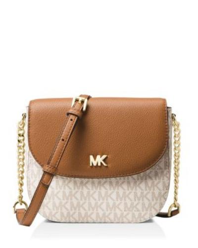 0a0357b6389c76 Michael Kors Women's Mott Half-Dome Crossbody Bag - Vanilla/Acorn ...