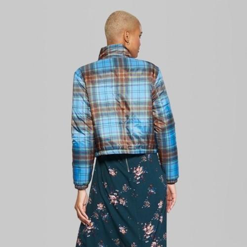 edbee9f8b73ea3 NEW Wild Fable Women s Plaid Puffer Jackets - Blue - Size M ...