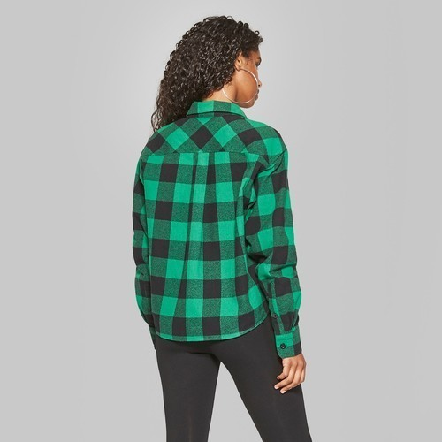 429f1a5c ... Wild Fable Women's LS Cropped Plaid Button-Down Shirt - Forest Green -  XS