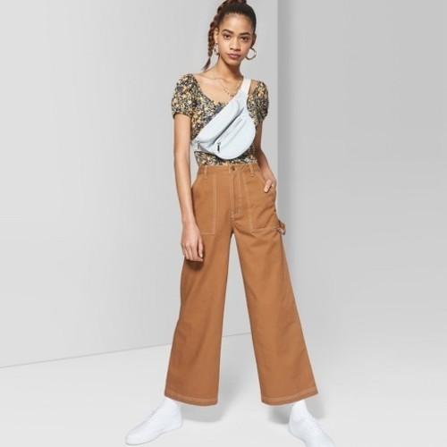c56ecd8f8e NEW Wild Fable Women's Wide Leg Pocket Pants - Brown - Size:00 ...