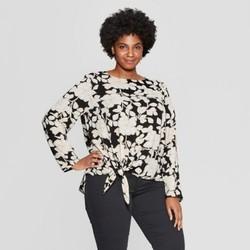 1bd829233e1 Women s Plus Size Floral Print Long Sleeve Tie Front Woven Top - Ava   Viv  Black 2X ...