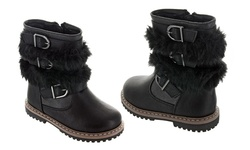 Girls Boots with Fur Trim: Black/ 8