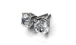 Round Solitaire Cubic Zirconia Stud Earrings -  18K White Gold Finish