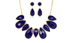 Regal Jewelry 18K Gold Plated Drop Necklace and Earring Set - Purple