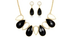 Regal Jewelry 18K Gold Plated Drop Necklace and Earring Set - Black/White