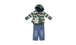 Rugged Bear Boys Zip-Up Hoodie 3-Piece Set - Gray/Green Stripe - Size: 3T