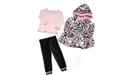 SGS 3 Piece Girls' Faux Fur Jacket Set - Pink - Size:4T