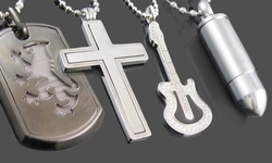 Blackjack Stainless Steel Pendant with Chain: Polished/CZ Cross