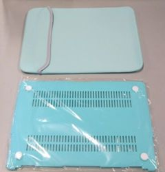 "Trendy 13""x10"" Neoprene Laptop Sleeve with Bottom Plastic Case - Teal/Gray"