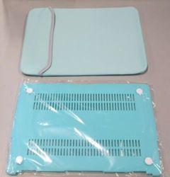 "Trendy 13""x10"" Neoprene Laptop Sleeve with Bottom Plastic Case - Teal/Gray"
