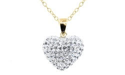 Golden Moon 14K Gold Swarovski Element Heart Pendant - white