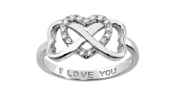 Sterling Silver Double Heart Infinity Ring: 14k Rose Gold/5
