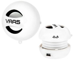 Vaas Portable Mini Speaker with USB and 3.5 mm for Any Audio Device (White)