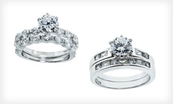 2-Piece Wedding Ring Set in Round-Cut Bar Setting w/ 6.5-mm  Center Stone: Sz 8