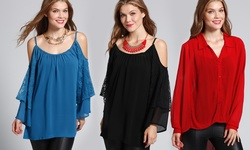 Classique Blouses: High-Low Long Sleeve/ Teal/ S