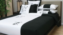 Zen Garden Quilt Cover Set - Black/White - Size:King