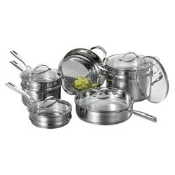 Cat Cora 12-Piece Stackable Stainless Steel Cookware Set